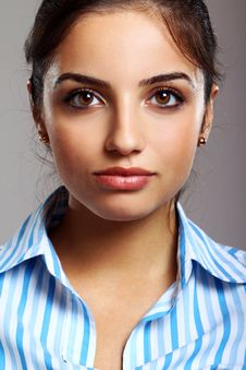 Free Young And Beautiful Woman In Striped Blouse Royalty Free Stock Photos - 20922838