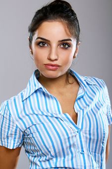 Free Young And Beautiful Woman In Striped Blouse Royalty Free Stock Image - 20922846