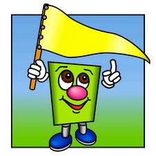 Free Funny Green Figure With A Yellow Flag. Stock Photography - 20922892
