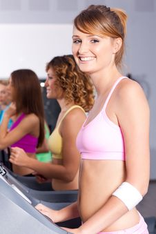 Free Group Of Women Running On Treadmill Stock Photography - 20923102