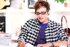 Young Student Studying At Home Royalty Free Stock Image