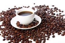Free Coffee Beans With White Cups Stock Images - 20923364