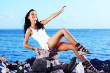 Free Brunette Near Sea Stock Photo - 20923430