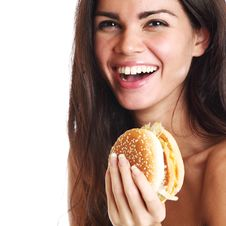 Free Woman Eat Burger Royalty Free Stock Photos - 20923508