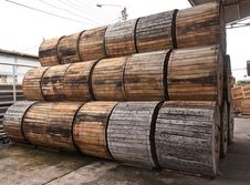 Free Pile Of Wooden Electric Wire Reels Tilted Out Stock Images - 20924504