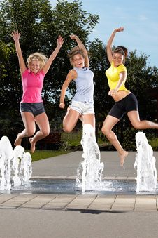 Free Jumping In A Fountain Stock Photo - 20924860
