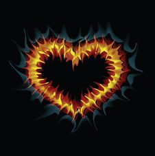 Flaming Heart. Vector Illustration. Stock Images