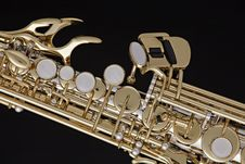 Saxophone Soprano Isolated On Black Stock Photos