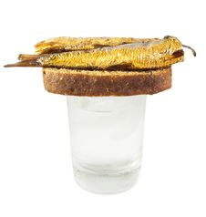 Free Vodka And Russian Appetizers - Bread And Fish Stock Photography - 20926182