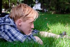 Free Young Human On The Green Grass Royalty Free Stock Photo - 20926305