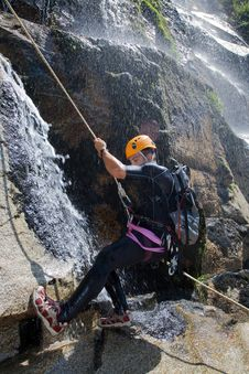 Free Men Descending Waterfall Stock Photography - 20926322