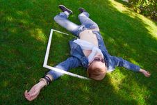 Free Young Human On The Green Grass With White Frame Royalty Free Stock Images - 20926409