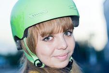 Young Beautiful Women Teenager In Green Helmet
