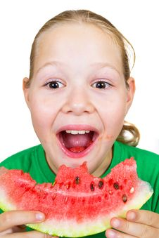 Free Picture Of Young Girl And A Slice Of Watermelon Royalty Free Stock Photos - 20926748