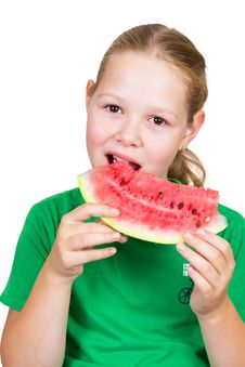Free Picture Of Young Girl And A Slice Of Watermelon Royalty Free Stock Photography - 20926767