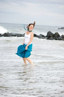 Free Beautiful Young Woman Has Fun On The Ocean Shore Royalty Free Stock Image - 20926856