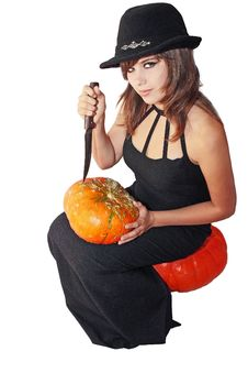 Free Witch With The Pumpkin Royalty Free Stock Image - 20926996
