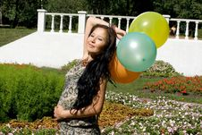Free Joyful Pregnant Girl With Colorful Balloons Stock Photography - 20927222