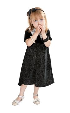 Little Girl In A Dress On A White Background Royalty Free Stock Photo