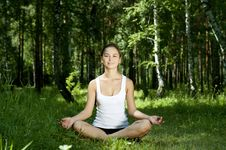 Free Yoga Woman On Green Grass Stock Photo - 20928220