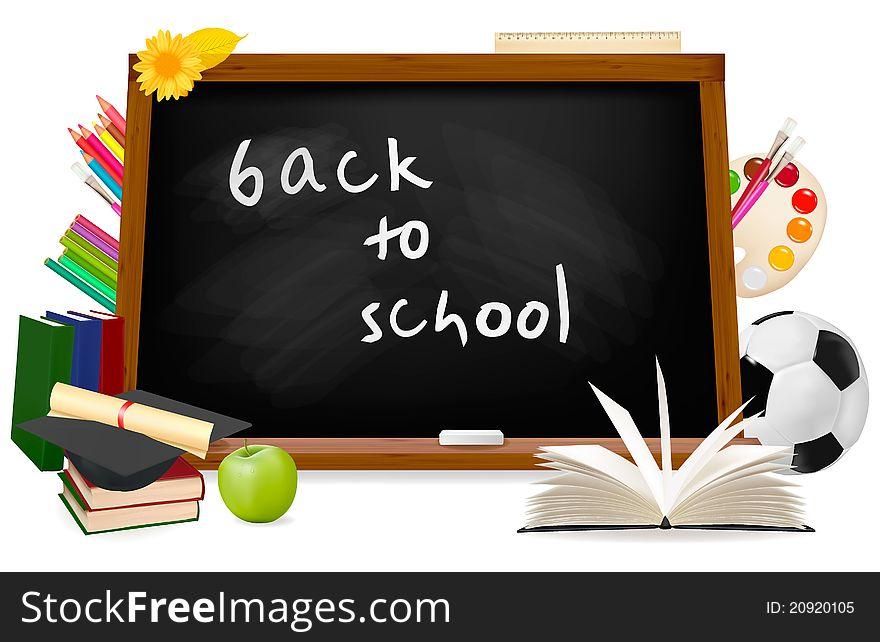 Back to school. Black desk with school supplies.