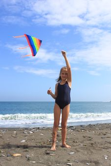 Girl Flies  Kite Stock Image