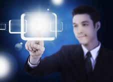 Free Business Man Pressing A Touchscreen Stock Images - 20931264