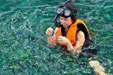 Free Woman Snorkeling. Royalty Free Stock Photos - 20931268