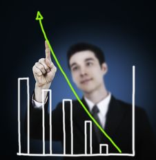 Free Business Man Touching Graph Royalty Free Stock Photo - 20931345
