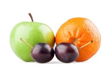 Free Apple, Orange And Two Plums Stock Photo - 20931480