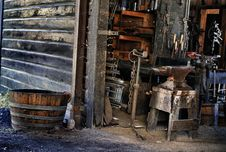 Free Blacksmith `s Tools In Shop Royalty Free Stock Photography - 20931717