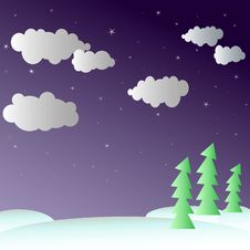 Free Night Winter In The Forest Stock Images - 20931934