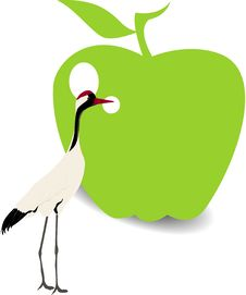 Free Bird And Green Apple Royalty Free Stock Photos - 20931948