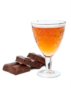 Free Glass Of Brandy With Chocolate Royalty Free Stock Photography - 20932447