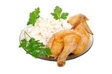 Free Fried Chicken With Rice Garnish Stock Photography - 20932482