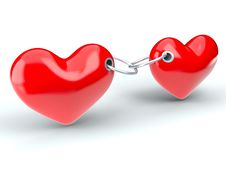 Free Two Red Hearts Royalty Free Stock Photo - 20932525