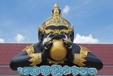 Statue Of Black Deity Called Rahu Royalty Free Stock Images