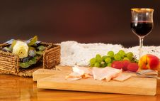 Free Dinner With Ham, Wine And Fruit Stock Photo - 20933060