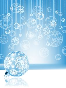 Free Blue Christmas Card With Baubles . EPS 8 Stock Photos - 20933323