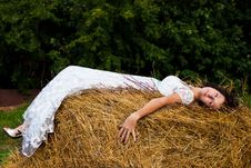 Free Brunette Woman In White Dress On Hay Stock Photo - 20933330