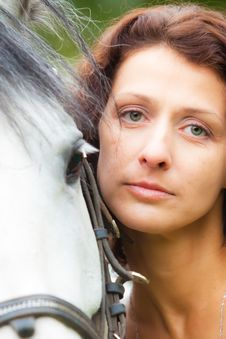 Free Beautiful Woman In White With A Horse Royalty Free Stock Image - 20933426