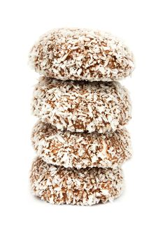 Chocolate And Coconut Covered Marshmallow Tower Stock Photo
