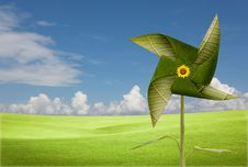 Free Green Leaves Windmill On Meadow Royalty Free Stock Image - 20934136