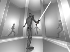 Free 3D Warrior In Silver Mirror Room Stock Photo - 20934860