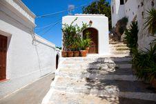 Free Narrow Street In Lindos.Rhodes Island Stock Photo - 20935740