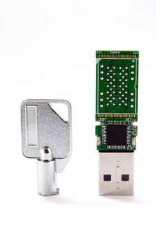 Key And USB Flash Card Royalty Free Stock Photography