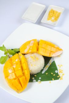 Thai S Dessert Mango Sticky Rice Coconut Milk Stock Photography