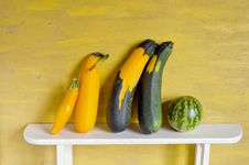 Free Still-life With Courgette And Watermelon Royalty Free Stock Image - 20937156