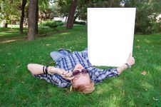 Free Young Human On The Green Grass With White Frame Royalty Free Stock Photo - 20937175