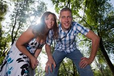 Happy Couple In Forest Stock Photo